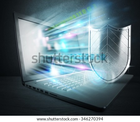Concept of antivirus with computer and shield - stock photo