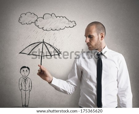 Concept of Assistance in business  with businessman with umbrella