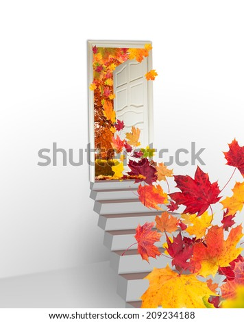 Concept of autumn leaves flying from door - stock photo