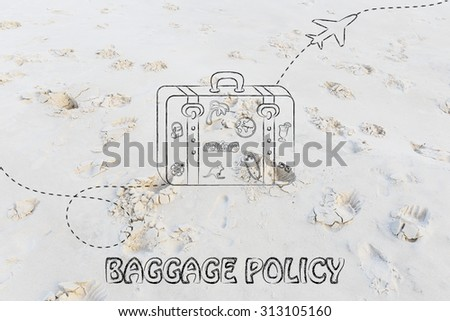 concept of baggage policy, illustration with bag and airplane trail