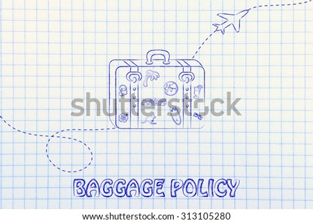 concept of baggage policy, illustration with bag and airplane trail - stock photo