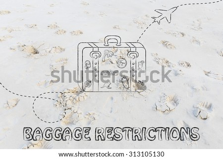 concept of baggage restrictions, illustration with bag and airplane trail