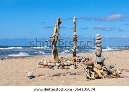 Concept of balance and harmony. Summer rock Zen - stock photo