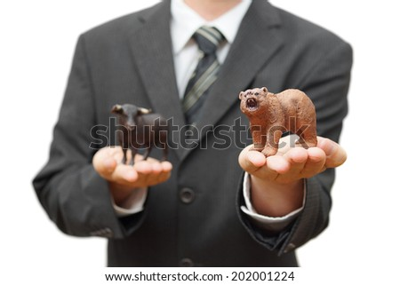 concept of bear stock market.  recession time - stock photo
