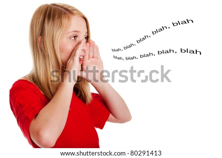 Concept of beautiful girl talking speaking out loud with hands around mouth directing sound, isolated.