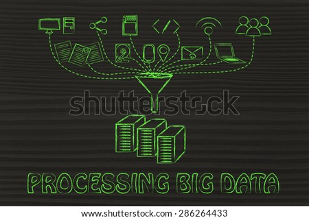 concept of big data processing and cloud computing: users, devices and file transfers