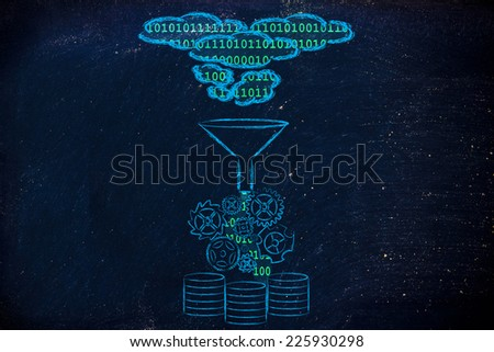 concept of big data processing and storage: cloud to database - stock photo