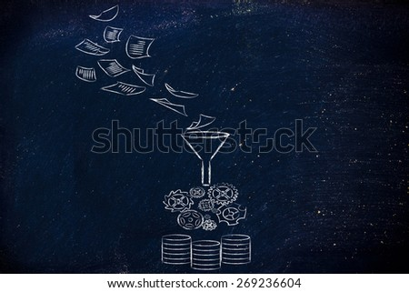 concept of big data processing and storage:documents, processing and remote storage - stock photo