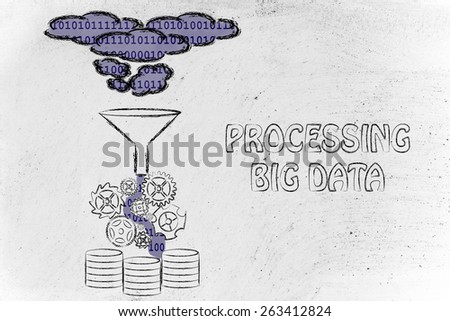 concept of big data processing and storage: users, devices and file transfers - stock photo