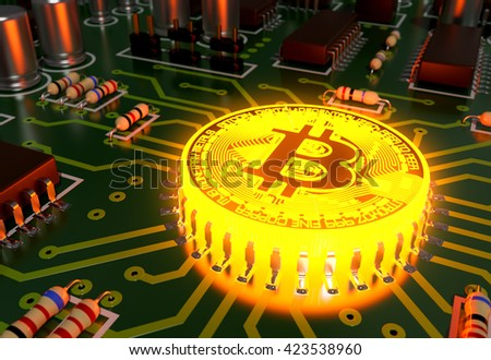 Concept Of Bitcoin Like A Hot Computer Processor On Motherboard. 3D Illustration. - stock photo