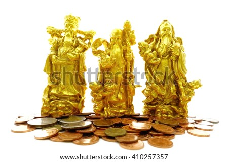 Concept of blessings,prosperity and longevity of Golden statue of Chinese deities called Fu Lu Shou,Three Stars God with many thai coins on white background:select focus with shallow depth of field.