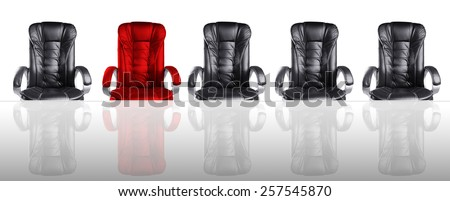 Concept of Board of Directors Meeting Chairs and Glass Table - stock photo