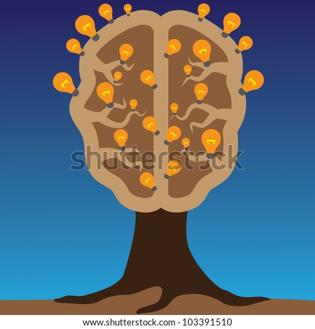 Concept of brain as a tree with bulbs as solutions to problems. Concept of using brain to create great ideas to solve human problems. - stock photo