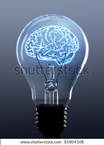concept of brain in a lightbulb - stock photo