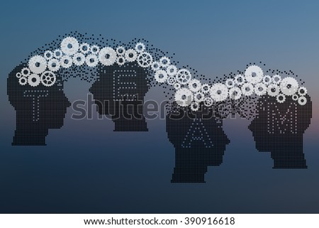 Concept of Brain storming, Knowledge sharing between to people head, this was shown through cogwheels transferring from one human brain to other, this also represents creative mind, innovation.  - stock photo