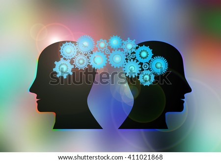 Concept of Brain storming, Knowledge sharing between to people head, this was shown through cogwheels transferring from one human brain to other, this also represents creative mind, innovation - stock photo