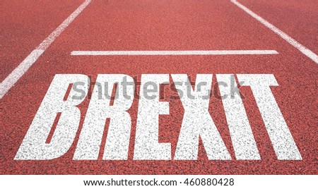 Concept of BREXIT, UK United Kingdom versus EU EUROPEAN UNION written over tarmac