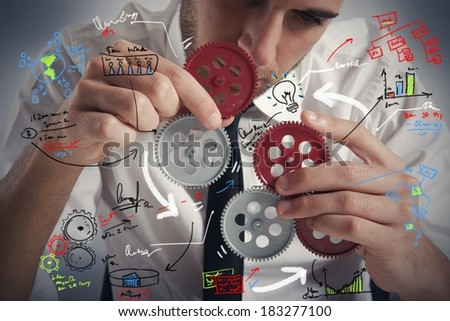 Concept of build a business system with gear - stock photo