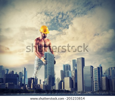 Concept of build great works with sexy mason at work - stock photo