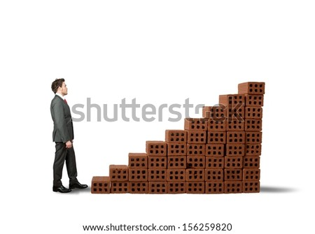 Concept of building a business with statistic made of brick