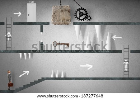 Concept of business challenge with businessman like a videogames - stock photo