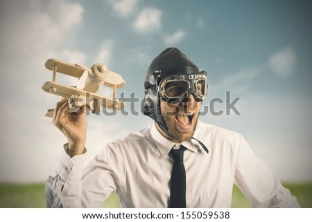 Concept of business in action with toy airplane - stock photo