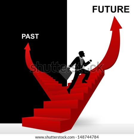 Concept of Business Solution Present By Future and Past Stairway With The Businessman Step Up to Top of The Arrow in Black and White Background - stock photo