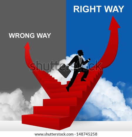 Concept of Business Solution Present By Right Way and Wrong Way Stairway With The Businessman Step Up to Top of The Arrow in Blue and Gray Sky Background - stock photo