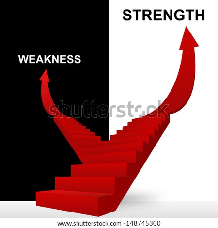 Concept of Business Solution Present By Strength and Weakness Stairway in Black and White Background - stock photo