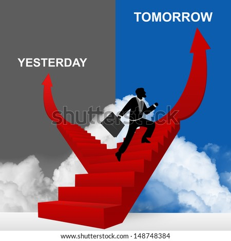 Concept of Business Solution Present By Tomorrow and Yesterday Stairway With The Businessman Step Up to Top of The Arrow in Blue and Gray Sky Background - stock photo