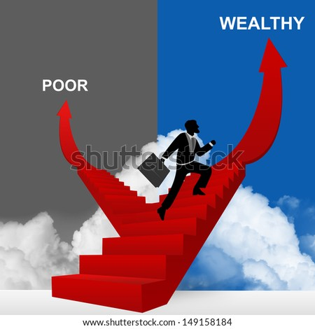 Concept of Business Solution Present By Wealthy and Poor Stairway With The Businessman Step Up to Top of The Arrow in Blue and Gray Sky Background  - stock photo