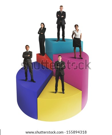 Concept of business team on a pie chart - stock photo