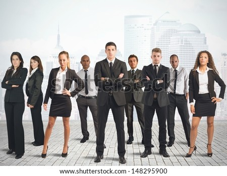 Concept of business team with businessman and businesswoman - stock photo