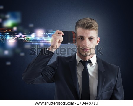 Concept of Businessman memory upgrade with futuristic effect - stock photo