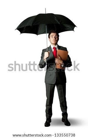Concept of businessman protected from crisis - stock photo