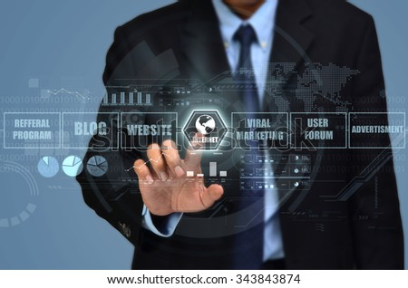Concept of businessman starting to use the internet technology as part of his marketing strategy - stock photo