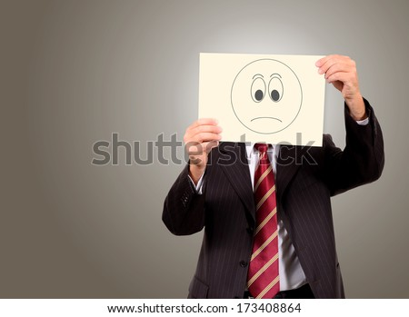 concept of businessman stressed  on gradient background