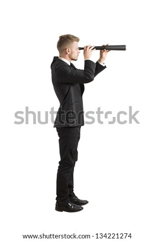 Concept of businessman that look for the future - stock photo