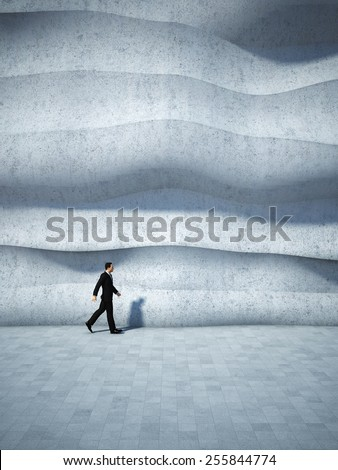 Concept of businessman walking along the abstract design wall. 3D render. - stock photo
