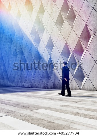 Concept of businessman walking in architectural design buildings. 3D illustration.