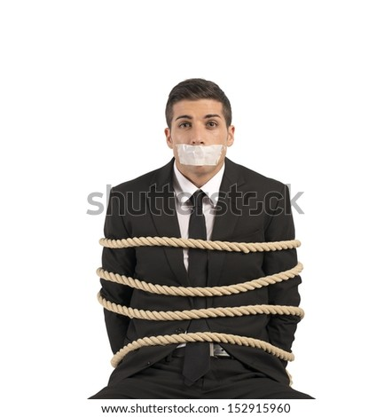 Concept of businessman with mobbing and stress at work - stock photo