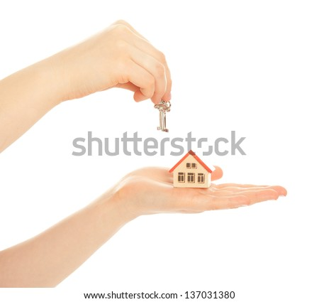 Concept of buying a new house isolated