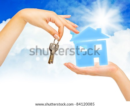 Concept of buying house on blue sky background