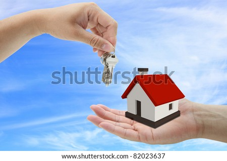 concept of buying house property with blue sky background