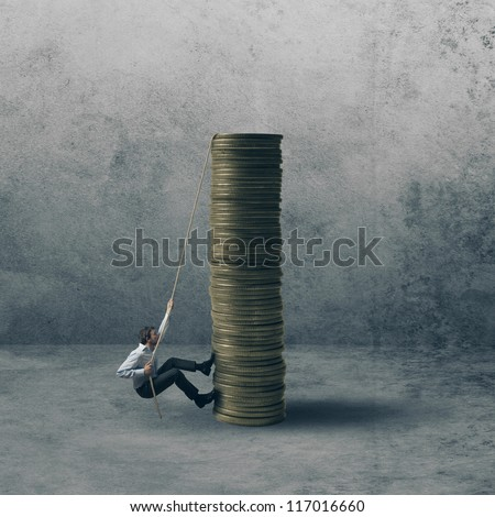Concept of career of a businessman - stock photo
