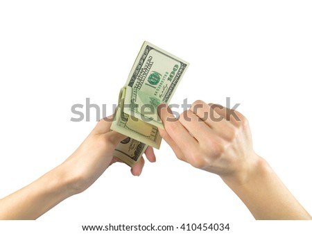 Concept of cash. Money US dollars in the hands on a white background