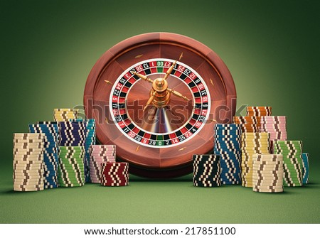 Concept of casino and gambling. Clipping path on the chips. - stock photo