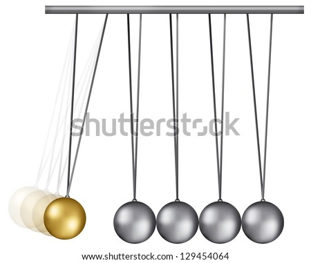 Concept of cause and reaction with Newton balls - stock photo