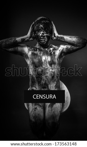 concept of censorship, blindfolded man covering his eyes, mouth and ears - stock photo