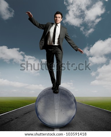 Concept of challenge in business - stock photo